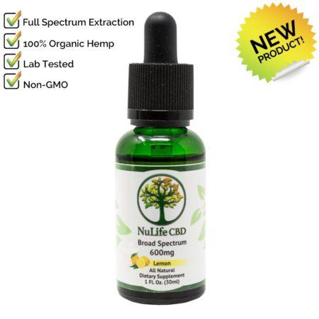 Nulife CBD Oils broad spectrum 600mg cbd lemon flavor