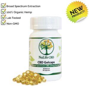 Nulife CBD Oils broad spectrum 750mg cbd Gelcaps